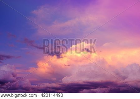 Heaven Background.sky.multicolored Clouds. Summer Weather. Clouds Of Blue, Lilac, Yellow And Pink Co
