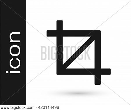 Black Picture Crop Photo Icon Isolated On White Background. Vector