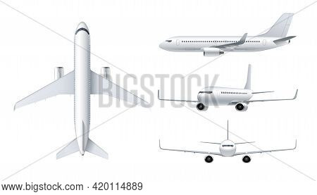 Flying Airplane, Jet Aircraft, Airliner. Top, Front, Side, 3d Perspective View Of Detailed Passenger