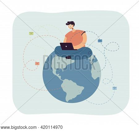 Man Sitting On Globe And Sending Emails. Male Character With Laptop Writing Letters Flat Vector Illu
