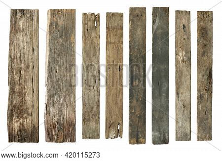 Wood Plank Weathered Damaged Set (with Clipping Path) Isolated On White Background
