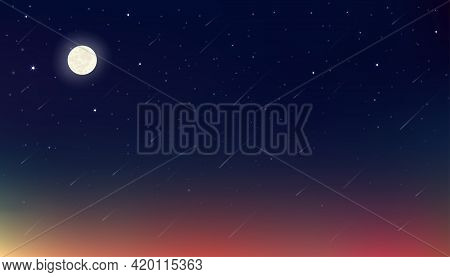 Ramadan Kareem Card Design Background In Dramatic Night With Crescent Moon,star With Blue, Purple An