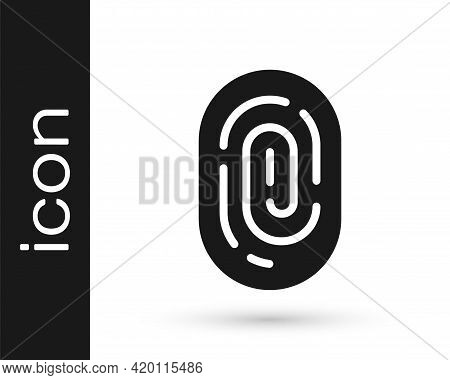 Black Fingerprint Icon Isolated On White Background. Id App Icon. Identification Sign. Touch Id. Vec