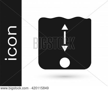 Black Depth Measurement Icon Isolated On White Background. Water Depth. Vector