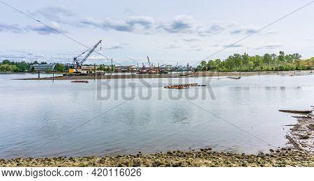 A Floating Crane On The Duwamish Waterway Near Seattle, Washington.