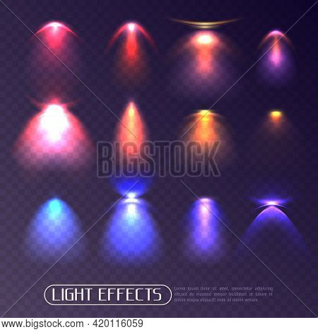 Set Of Colored Artificial Light Effects Of Various Intensity Isolated On Transparent Background Vect
