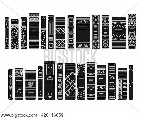A Set Of Simple Style Spines Of Books In Retro Style, Classic Editions.
