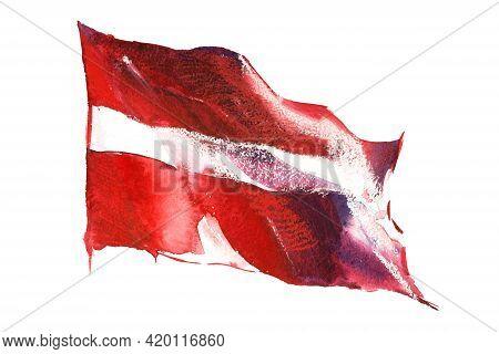Latvia, Latvian Flag. Hand Drawn Watercolor Illustration.