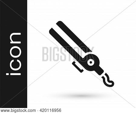 Black Curling Iron For Hair Icon Isolated On White Background. Hair Straightener Icon. Vector