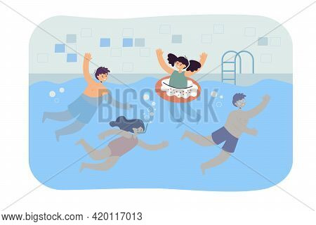 Cartoon Children Swimming In Pool. Flat Vector Illustration. Happy Boys And Girls In Swimwear Playin