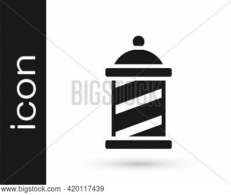 Black Classic Barber Shop Pole Icon Isolated On White Background. Barbershop Pole Symbol. Vector
