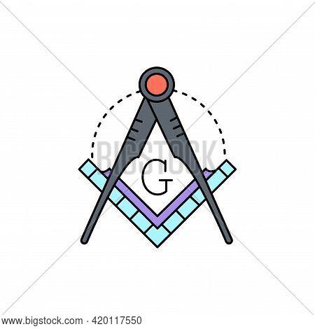 Masonic Lodge Symbol Line Icon. Isolated Vector Element.