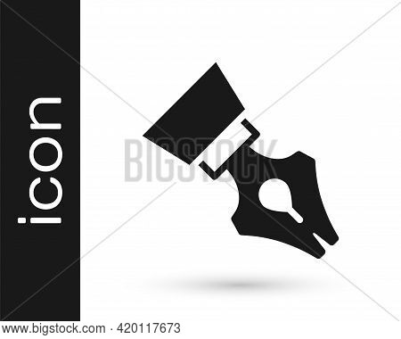 Black Fountain Pen Nib Icon Isolated On White Background. Pen Tool Sign. Vector