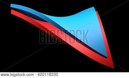 Abstract Blue And Red Icon On Black Background - 3d Rendering Illustration