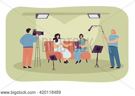 People Recording Interview In Studio. Flat Vector Illustration. Host, Guest Person And Crew Of Video