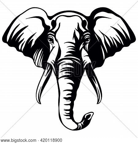Mascot. Head Of Elephant. Vector Illustration Black Color Front View Of Wild Animal Isolated On Whit