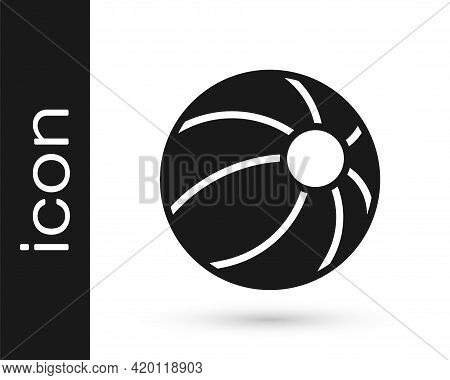 Black Beach Ball Icon Isolated On White Background. Children Toy. Vector
