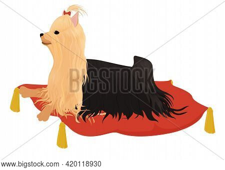 Yorkshire Terrier With Red Bow Laying On Pillow Isolated On White. Vector Cartoon Illustration Of Re