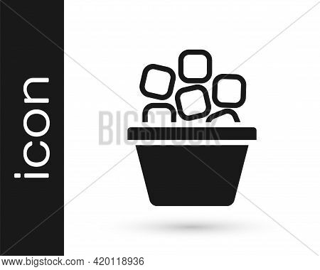 Black Ice Bucket Filled With Ice Cubes Icon Isolated On White Background. Vector