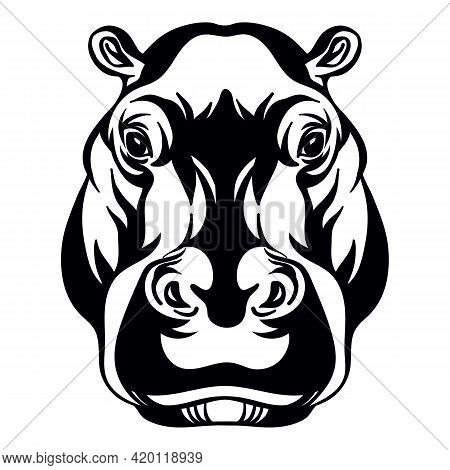 Mascot. Head Of Hippopotamus. Vector Illustration Black Color Front View Of Wild Animal Isolated On