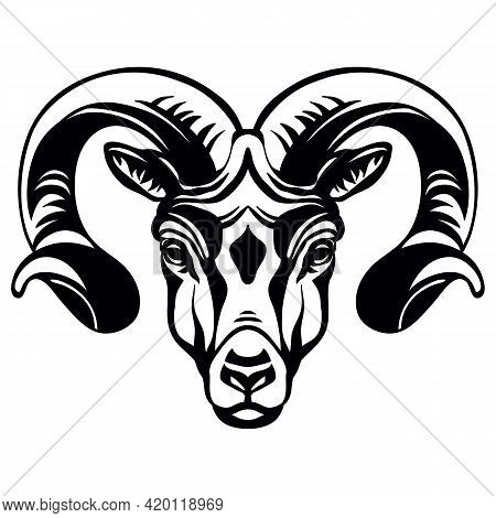Mascot. Head Of Ram. Vector Illustration Black Color Front View Of Wild Animal Isolated On White Bac