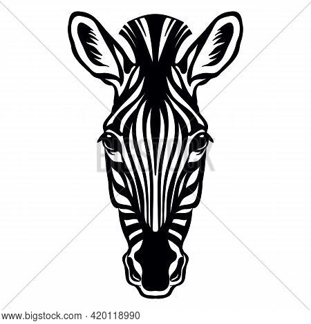 Mascot. Head Of Zebra. Vector Illustration Black Color Front View Of Wild Animal Isolated On White B