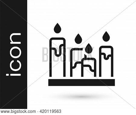 Black Burning Candle Icon Isolated On White Background. Cylindrical Aromatic Candle Stick With Burni