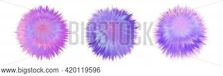 Fur Colorful Pompoms. Fluffy  Ball  With Furry Texture. Rainbow Holographic Colors, Pink And Purple.