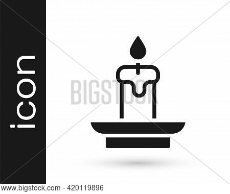 Black Burning Candle Icon Isolated On White Background. Cylindrical Aromatic Candle Stick With Burni