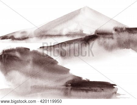 Abstract Asian Landscape With Mountain. Oriental Traditional Painting In Style Sumi-e, Gohua And U-s