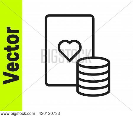 Black Line Casino Chip And Playing Cards Icon Isolated On White Background. Casino Poker. Vector