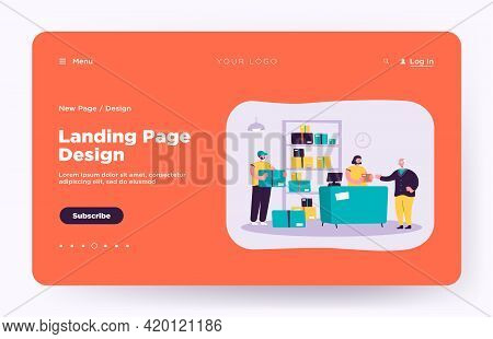 Post Office Worker Giving Package To Customer. Senior Man Receiving Mail. Vector Illustration For De