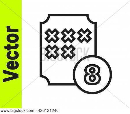 Black Line Bingo Or Lottery Ball On Bingo Card With Lucky Numbers Icon Isolated On White Background.