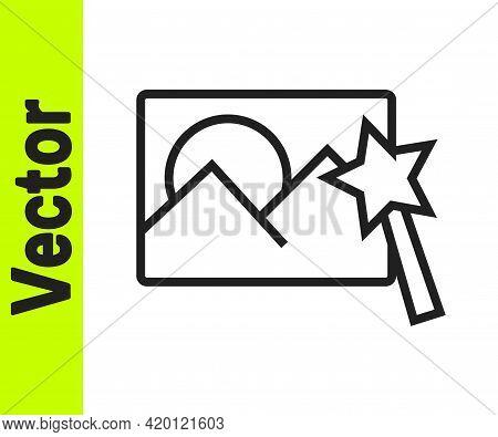Black Line Photo Retouching Icon Isolated On White Background. Photographer, Photography, Retouch Ic