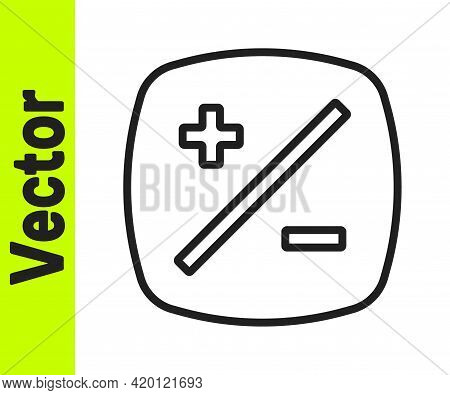 Black Line Exposure Compensation Icon Isolated On White Background. Vector