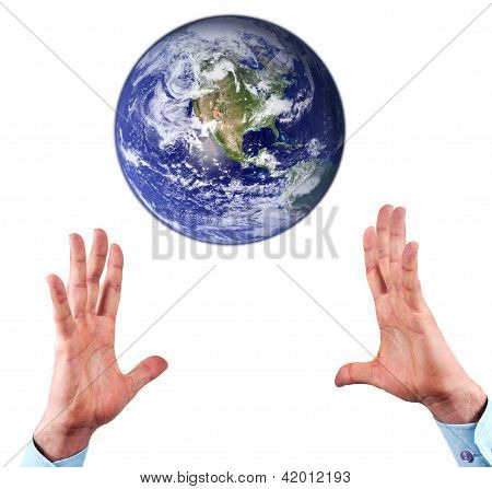 Hands And Earth globe