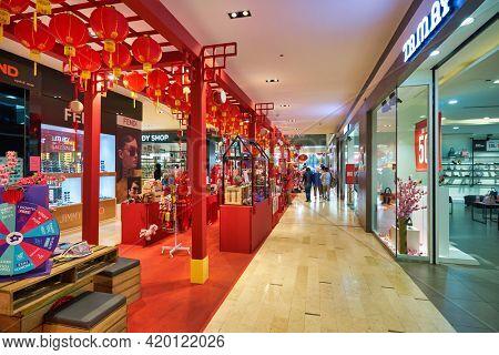 KUALA LUMPUR, MALAYSIA - CIRCA JANUARY, 2020: Chinese New Year decorations at Fahrenheit 88 shopping center in Kuala Lumpur.