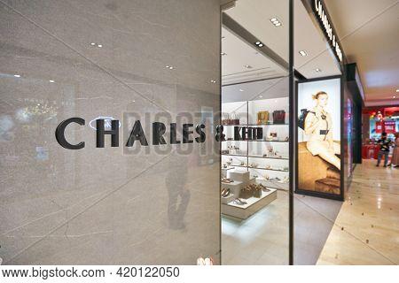 KUALA LUMPUR, MALAYSIA - CIRCA JANUARY, 2020: close up shot of Charles and Keith sign as seen at the store in Kuala Lumpur.