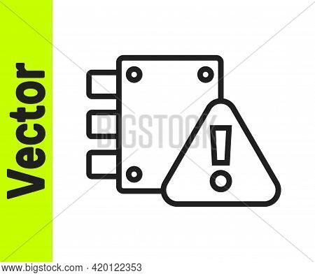 Black Line House Under Protection Icon Isolated On White Background. Home And Lock. Protection, Safe