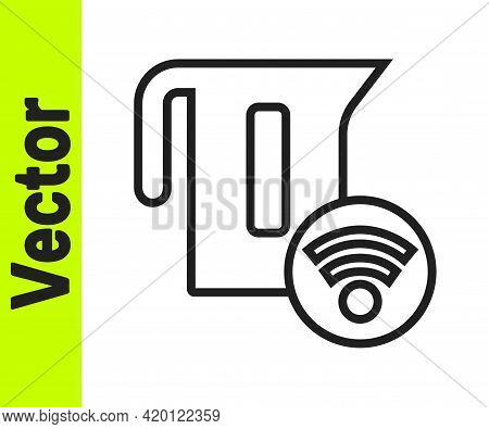Black Line Smart Electric Kettle System Icon Isolated On White Background. Teapot Icon. Internet Of