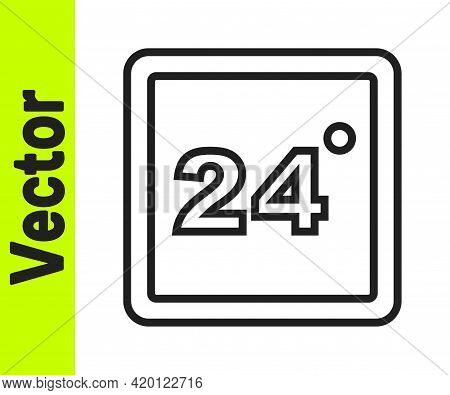 Black Line Thermostat Icon Isolated On White Background. Temperature Control. Vector