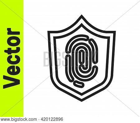 Black Line Fingerprint Icon Isolated On White Background. Id App Icon. Identification Sign. Touch Id