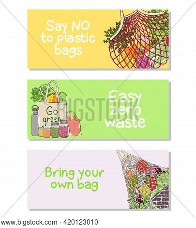 Set Of Zero Waste Wide Banners With Bags, Meshes, Vegetables And Fruits. Concept Of Zero Waste Store
