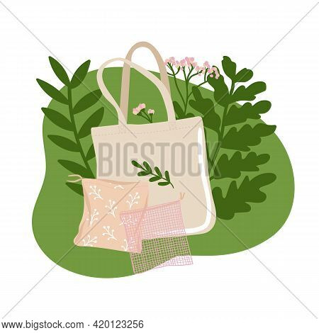 Collection Of Bags And Mesh With Green Leaves. Concept Of Zero Waste Store. Eco-friendly Sustainable