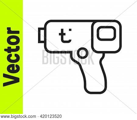 Black Line Digital Contactless Thermometer With Infrared Light Icon Isolated On White Background. Ve