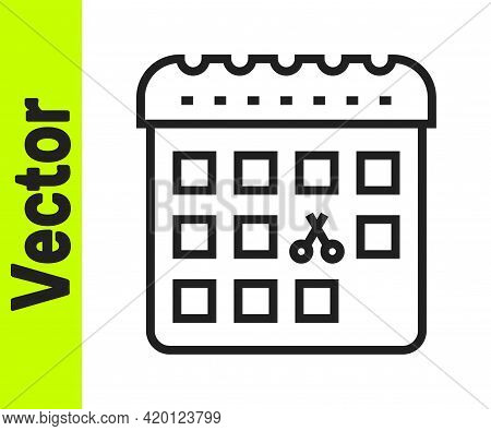 Black Line Calendar With Haircut Day Icon Isolated On White Background. Haircut Appointment Concept.