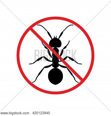 The Silhouette Of A Ant In A Red Forbidding Circle.the Stop Ant Icon Is A Forbidding Sign. No Pests.