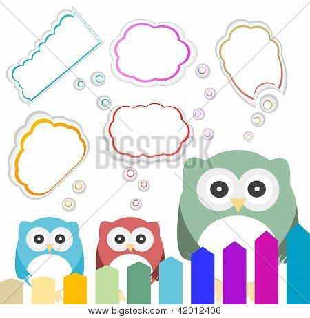 Happy Owl Family With Speech Bubble