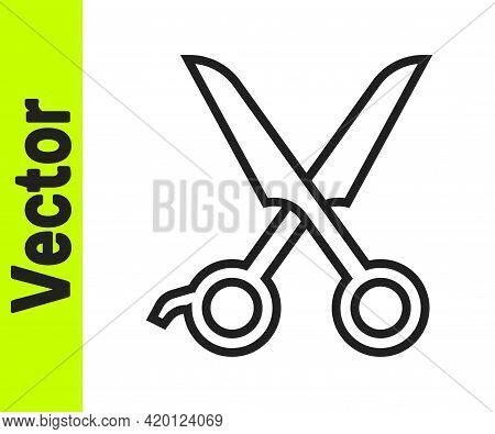 Black Line Scissors Hairdresser Icon Isolated On White Background. Hairdresser, Fashion Salon And Ba
