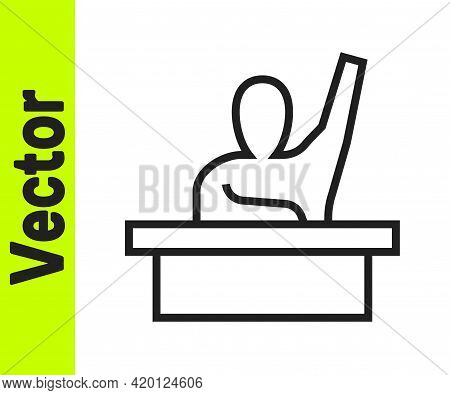 Black Line Active Male Kid Raising Hand Answering To Teacher Question Icon Isolated On White Backgro